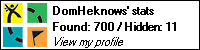 Geocaching.Com stat bar showing 700 geocaches found